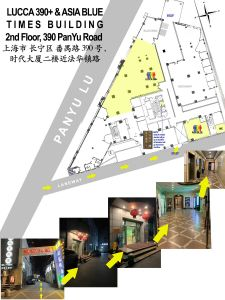 Shanghai LGBT Gay bar Asia Blue & Lucca390+ 2nd Floor map from Elevator